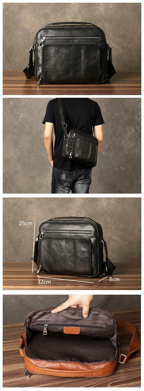 Slim Leather Briefcase, Leather Laptop Bag,Office Bag, Convertible Laptop Bag GZ050