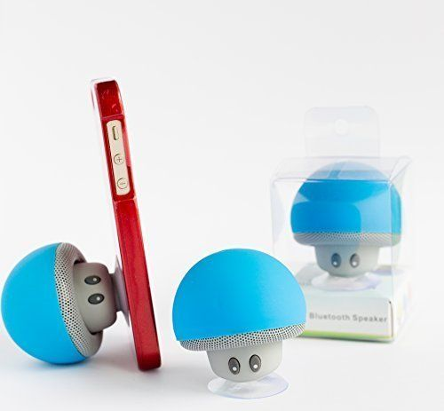 Bluetooth Wireless Speaker (Blue Color) - Cute Mushroom-shaped Bluetooth 2.1 Speaker with suction cup & Built-in Microphone - Compatible with iPhone / iPad / Samsung / HTC / LG / Android or any phone