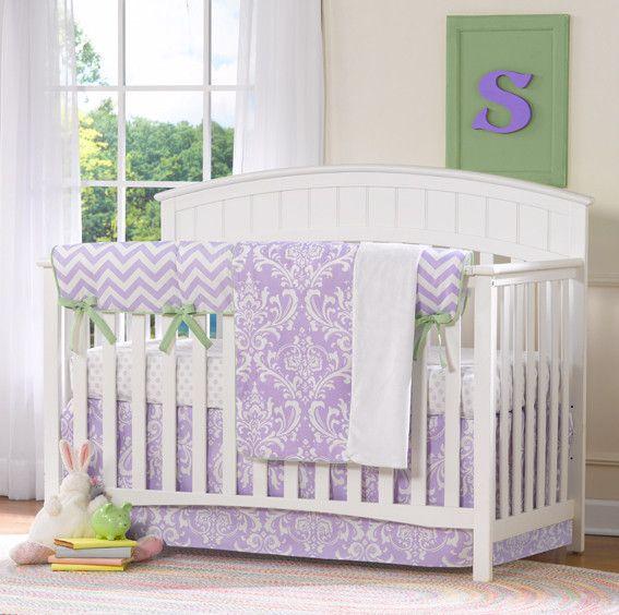 Lavender Damask Bumperless Crib Bedding