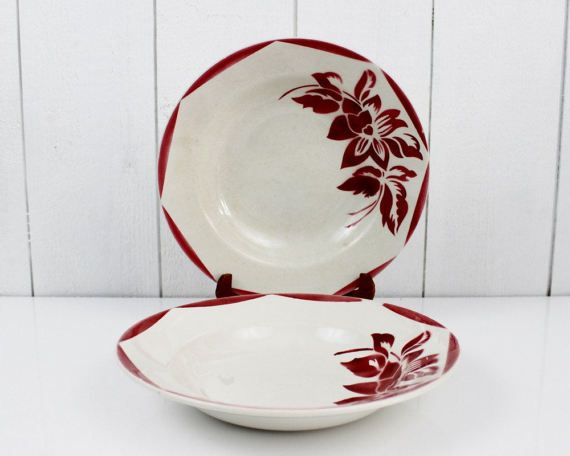 French vintage pasta bowl set  Sarreguemines Red by ohlalacamille