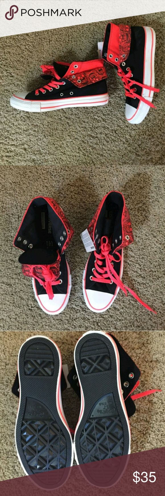 NWT Converse NWT women's size 9 converse in black and neon orange. Converse Shoes Sneakers