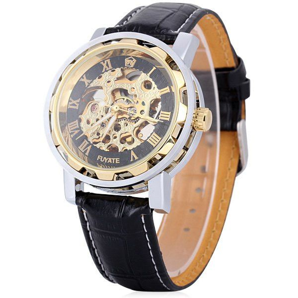 Mechanical Watch with Round Dial Hollow-out and Leather Watchband for Men