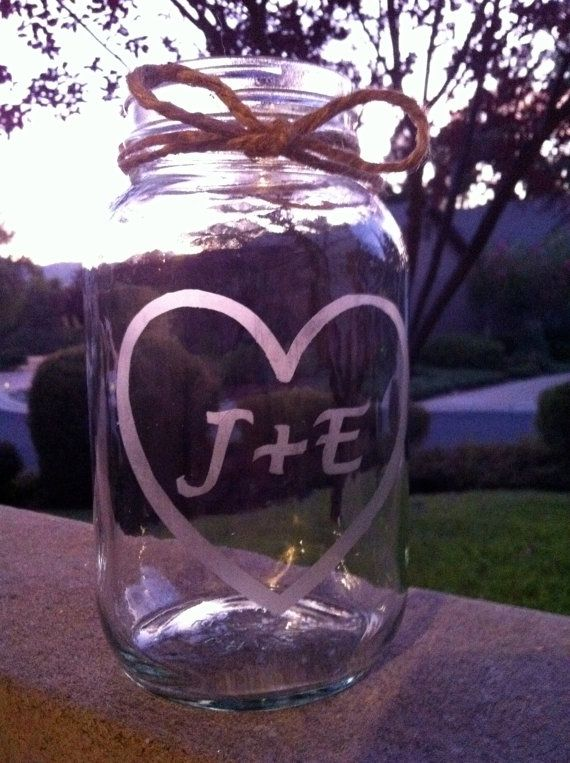 Etched Mason Jars  6 Wedding Mason Jar Center Pieces by lcatlla
