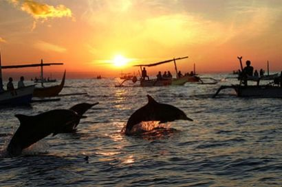 Lovina Beach is the famous tourist place in north part of Bali with the spectacular of Dolphin Show Tour on the calm sea water