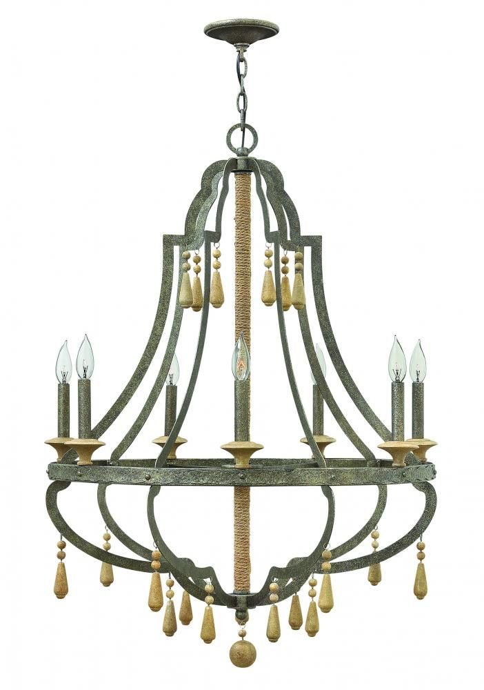 fredrick ramond seven light chandelier cordoba distressed iron
