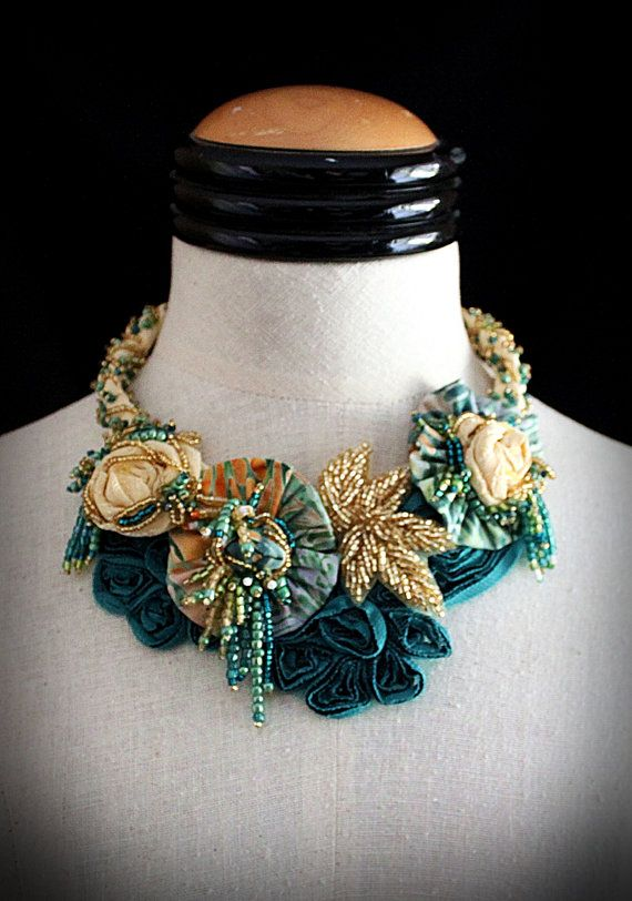 ADRIA Teal Yellow Textile Statement Necklace by carlafoxdesign, $295.00