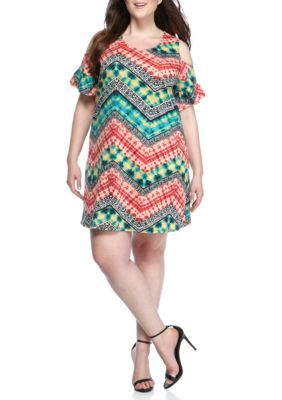 New Directions Weekend Women's Plus Size Chevron Cold Shoulder Printed Dress - Turquoise / Red - 3X