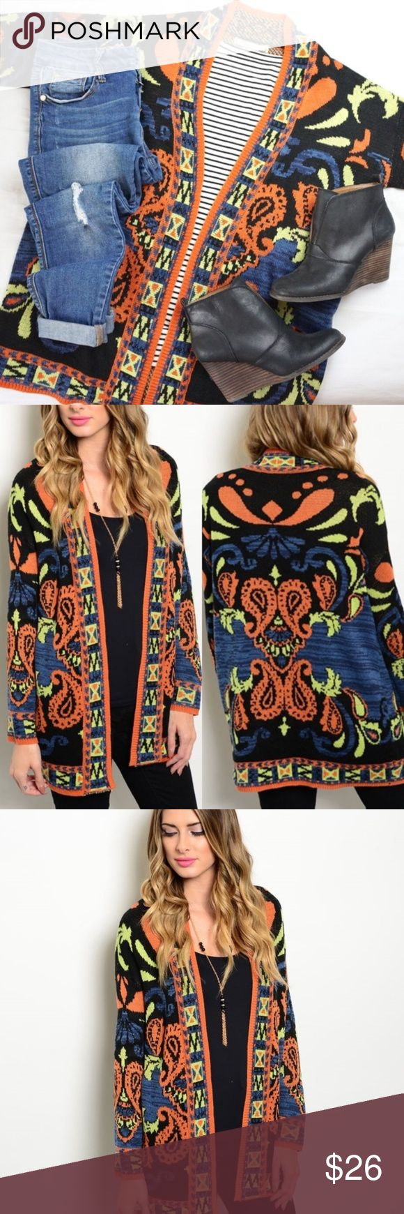 Festival MultiColor Cardigan { Boutique Item } Festival Cardigan is Crazy Comfortable & Will Be A Must For​ Your Wardrobe! Pairs beautifully with your favorite skinny jeans & over the knee or riding boots.   Medium : Bust = 44 Inches & Length = 32 Inches  No Trades No Mercari No Off Posh Sales Flying Tomato Sweaters Cardigans