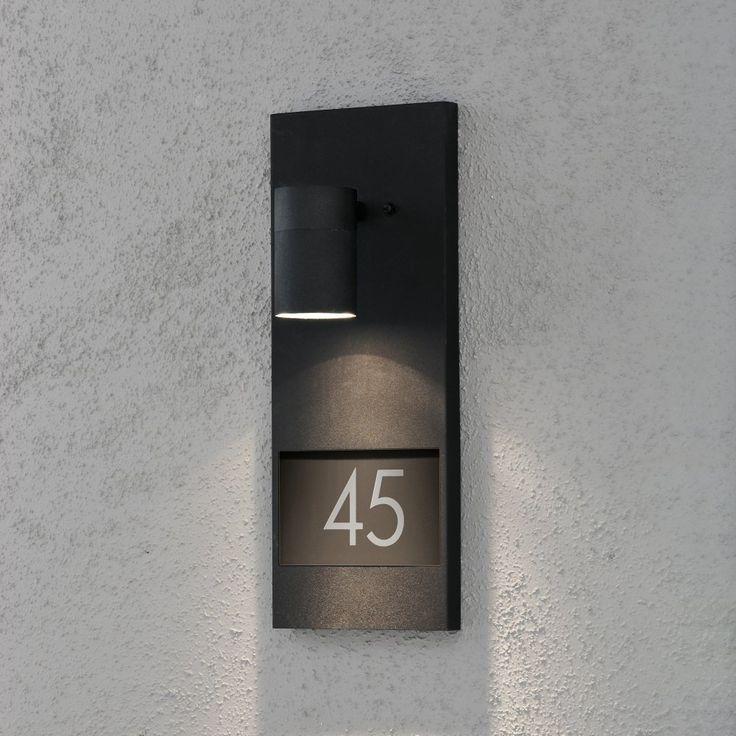 Konstsmide Modena Single Light Halogen Wall Fitting with House Number in Matt Black Finish - Konstsmide from Castlegate Lights UK