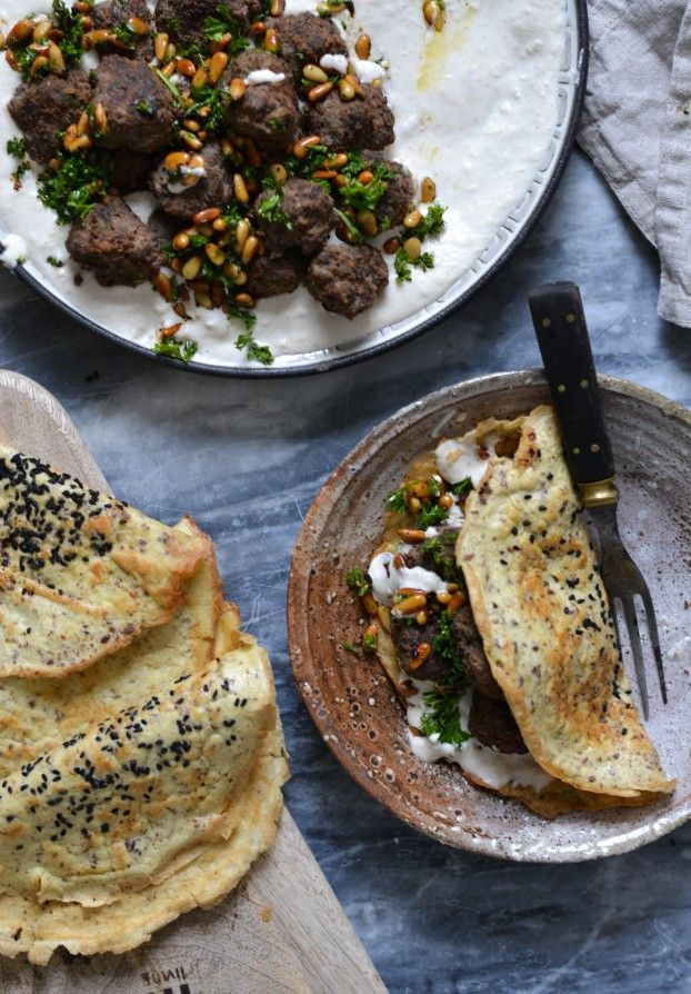 Middle eastern Meatballs with creamy bean hummus & grain free turkish flatbreads.