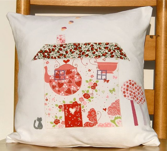 Cute Country Cottage Cushion / Pillow by freespiritdesigns2, £48.00