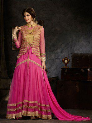Pink Net Anarkali Suit with Zari Embroidery Work