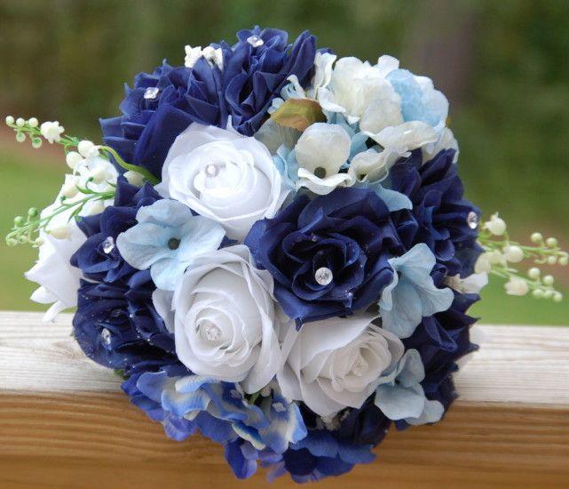flores de seda ramos de boda azules