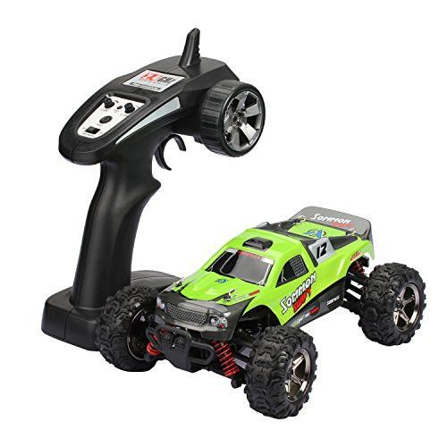 Fast Electric Rc Drift Cars, Toysport 1/24 Scale High Speed 32 MPH Rc Monster Truck 4x4 Off Road Remote Control Cars for Kids and Adults(Green)