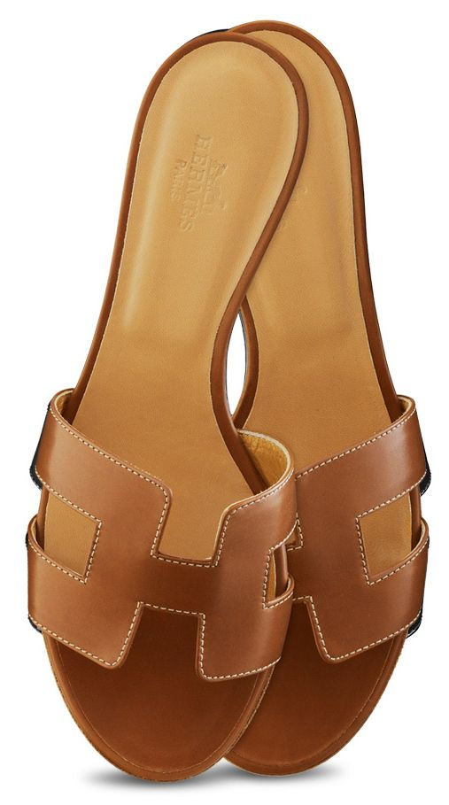 Hermes - Oasis Tan leather sandals.