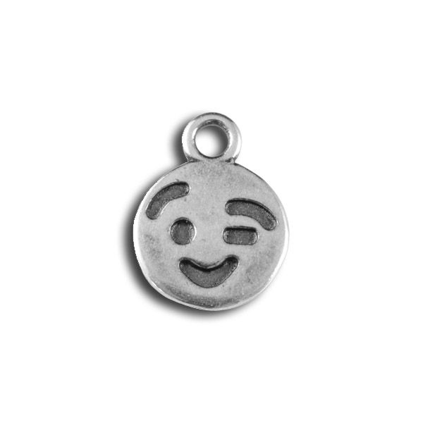 JBB Antiqued Silver Plated Pewter Winking Emoticon Charm