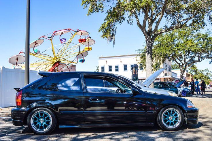 98 Honda Civic, Ek hatch , black with teal wheels, Florida life style @ old town #jdm
