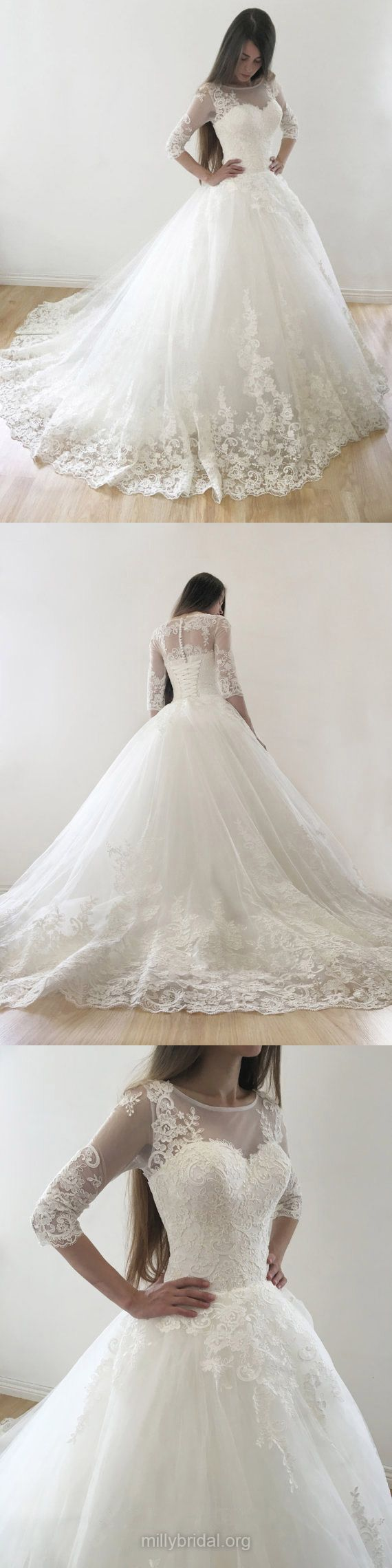 Lace Wedding Dresses Ball Gown, Princess Wedding Dresses Modest, 2018 Bridal Gowns Scoop Neck, Tulle Wedding Dresses Court Train Appliques 3/4 Sleeve