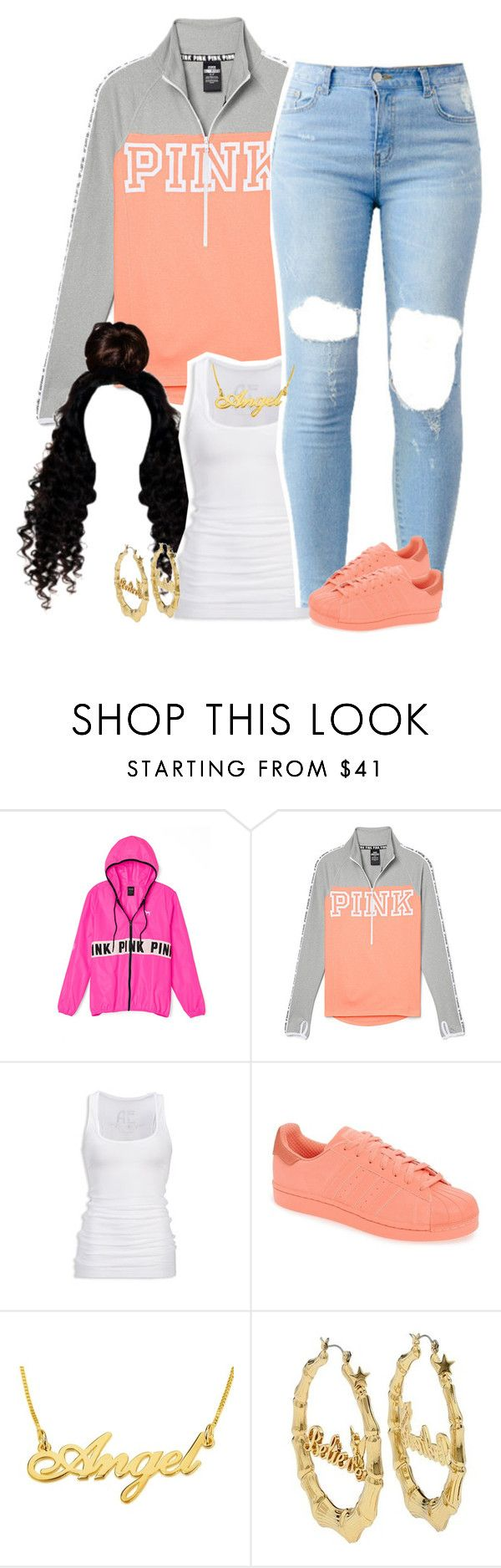 """""""Untitled #1626"""" by lulu-foreva ❤ liked on Polyvore featuring Victoria's Secret PINK, American Eagle Outfitters, adidas and Disney Couture"""