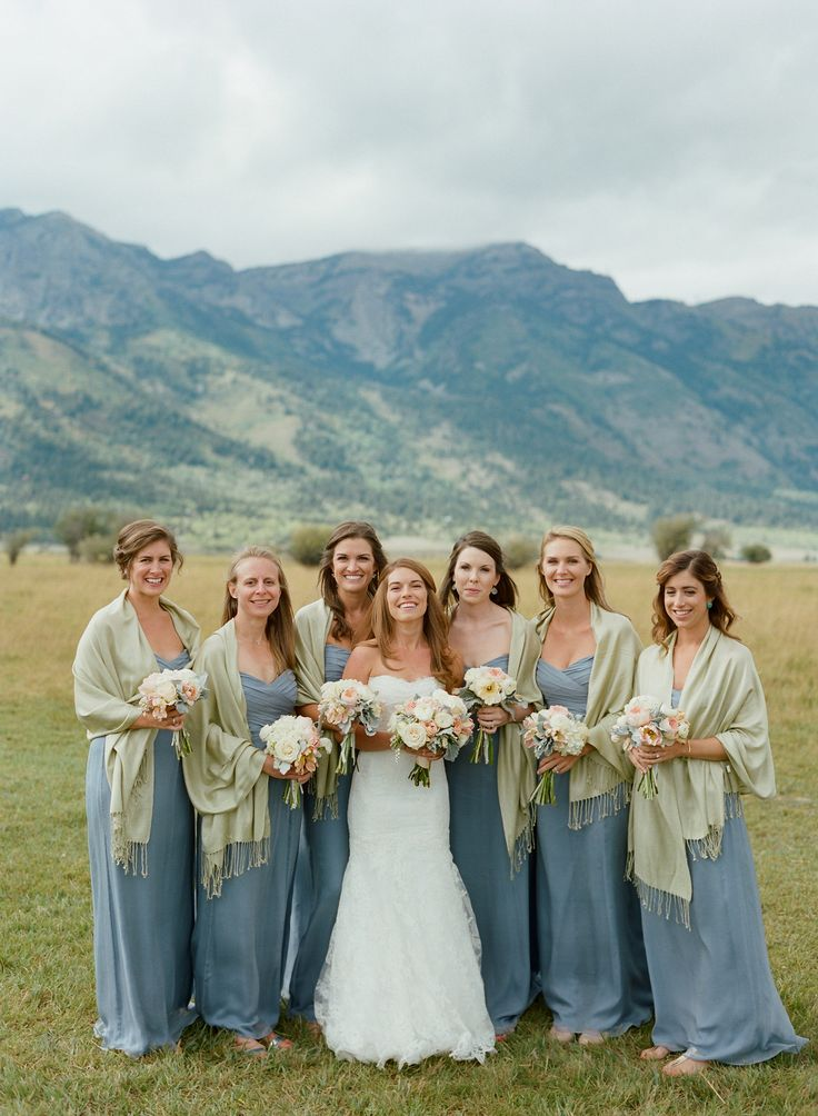 Bridesmaids' dresses: Amsale - Rustic + Romantic Jackson Hole Ranch Wedding by In Any Event (Event Planning And Design) + Carrie Patterson Photography