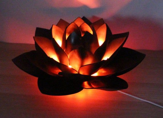 Black Lotus Flower Lamp Night Light