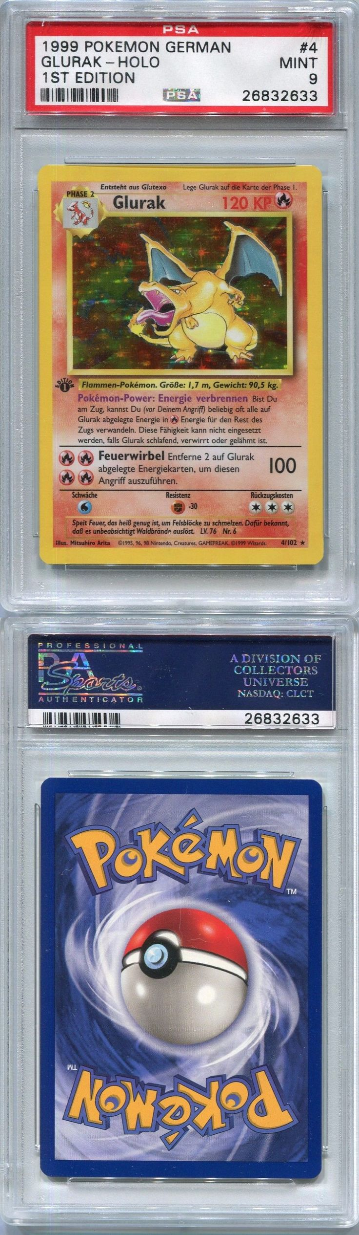 Pok mon Individual Cards 2611: Pokemon Card German 1St Edition Glurak (Charizard) Base Set 4 102, Psa 9 Mint -> BUY IT NOW ONLY: $200 on eBay!
