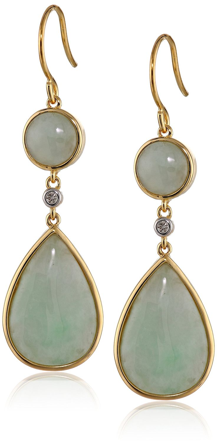18k Yellow Gold Sterling Silver Green Jade and Diamond Accent Drop Earrings: