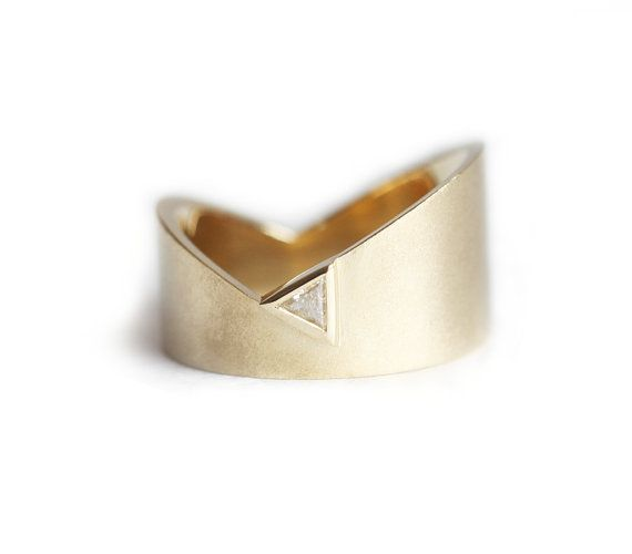 Gold Wedding Ring Trillion Wedding Ring Modern by MinimalVS
