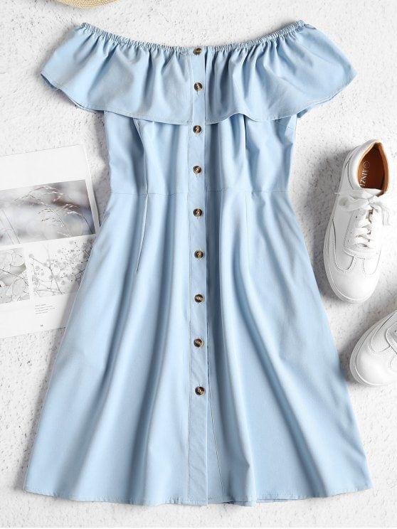 Off Shoulder Button Up Mini Dress