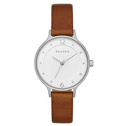 SKAGEN DENMARK アナログ腕時計 スカーゲン 時計 レディース  クリスタル ブラウン 革 SKW2399