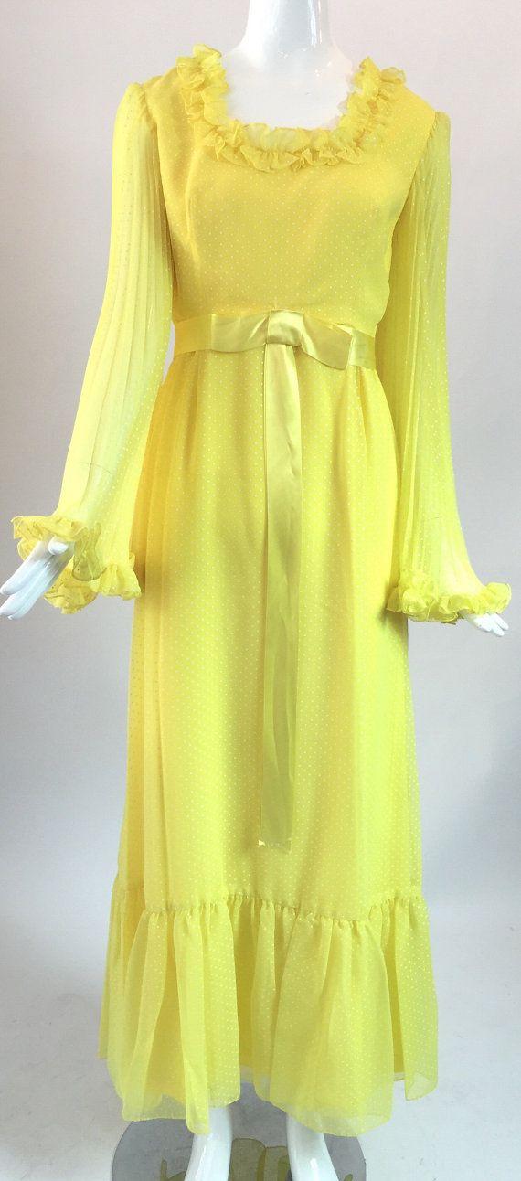 Yellow swiss dot dress / 1960s hippie dress / by audreysofnaples