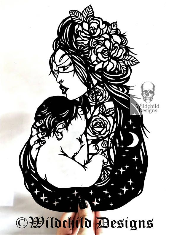 Commercial Use  Mother's Love Tattoo Paper Cutting