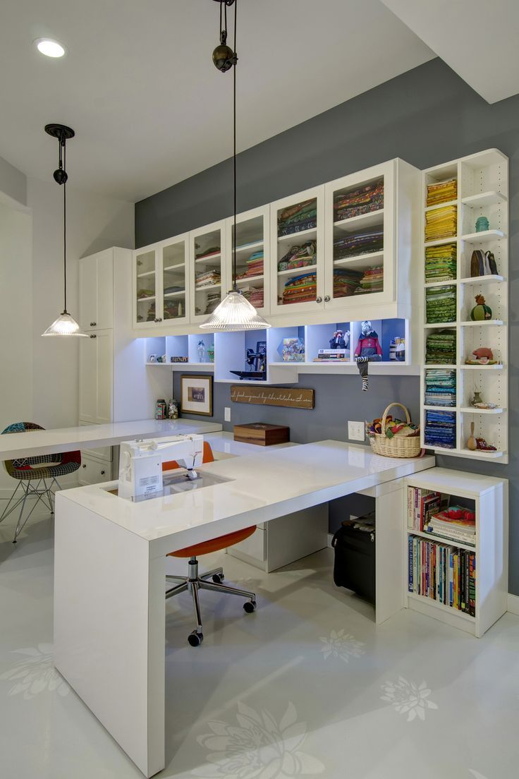 An all white design provides a blank slate in this custom sewing station, allowing your colorful supplies to pop behind glass doors.