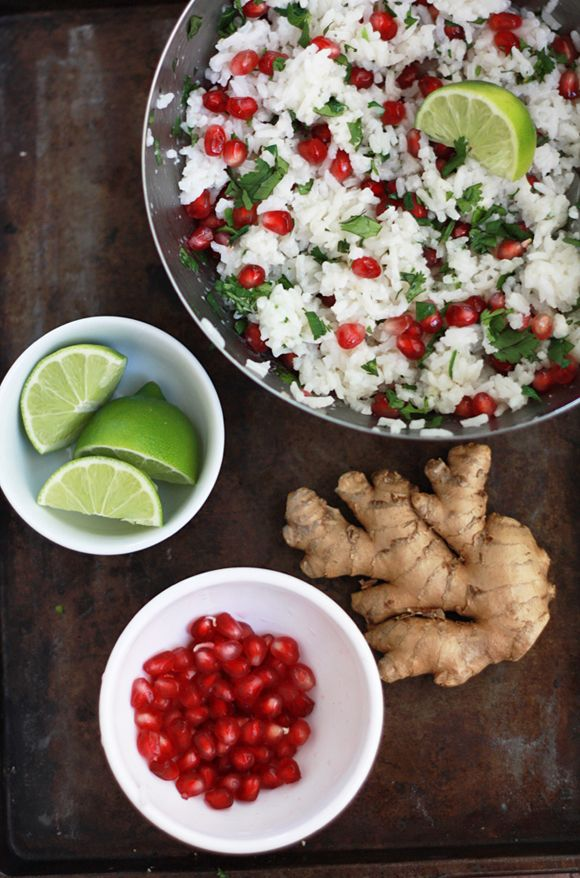 Pomegranate Rice with Coconut, Ginger, and Lime // One Lovely Life