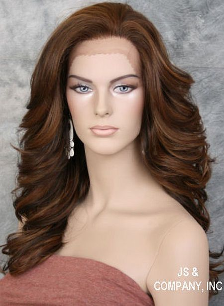 Brown Auburn Blonde mix HEAT SAFE Lace Front wig Roller curls Wavy NBY 4/27/30
