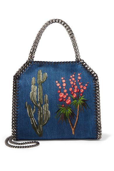 Stella McCartney - The Falabella Embroidered Denim Shoulder Bag - Indigo - one size