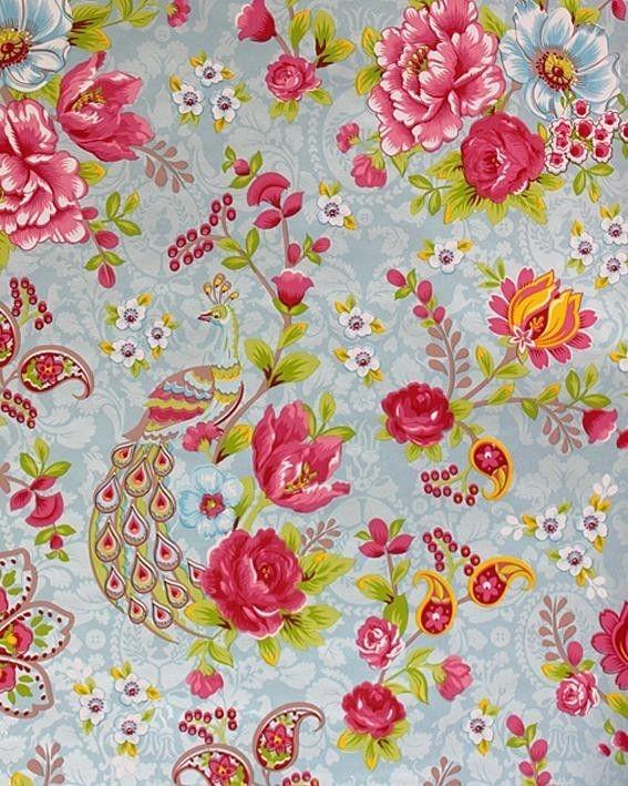 Kinderbehang Pip - Pauw grijsblauw bloem 313051
