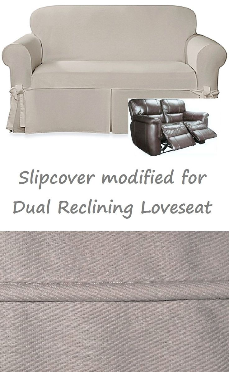 Dual Reclining LOVESEAT Slipcover Farmhouse Twill Taupe Adapted For  Recliner Love Seat