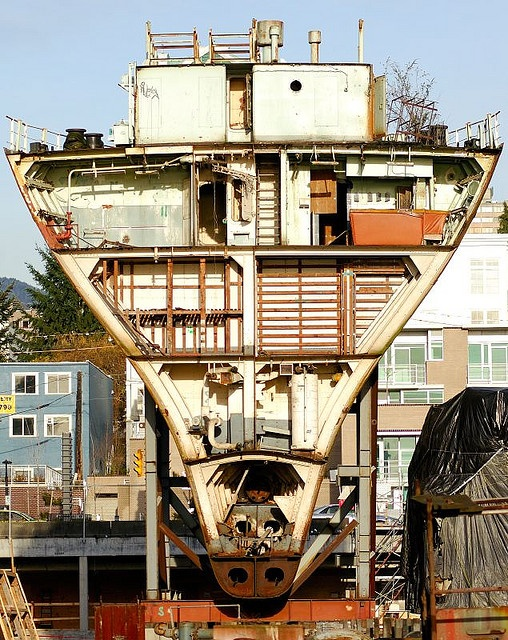 The stern section of the HMCS Cape Breton, being saved for museum purposes. the rest of the ship has been taken to Nanaimo and sunk offshore as an artificial reef for divers. I was stationed on her when she was alongside in '67 in Esquimalt/HMCS Naden. #explorenanaimo