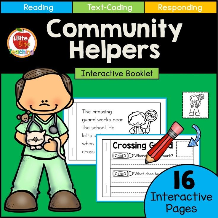 Interactive Community Helpers Booklet! Introduce Text-Coding to young readers.