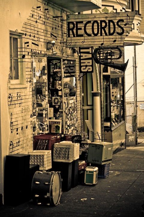 RECORDS Store. music, records, vintage. This is a place we could hang out.