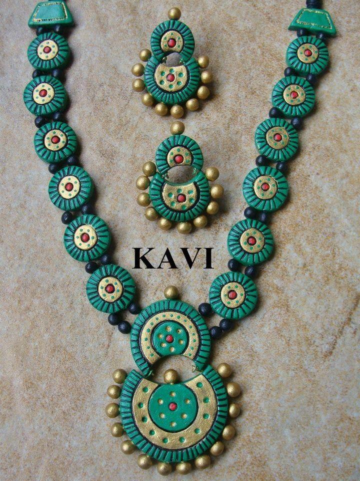 Handmade terracotta jewelry painted in green https://www.facebook.com/KavisTerracottajewellery