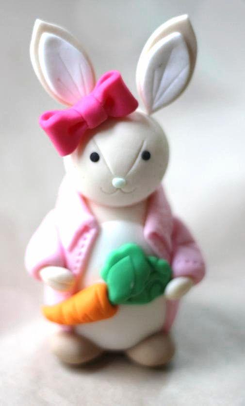 Fondant Girl Bunny Rabbit Cake Topper 2