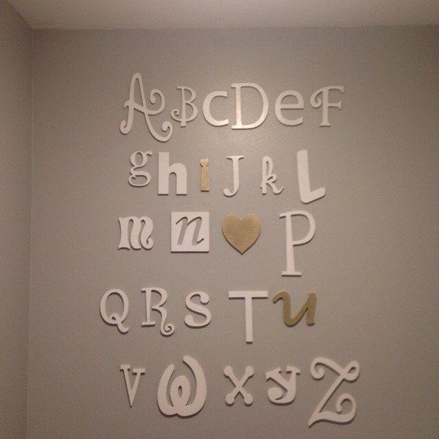 """Wooden Alphabet Letters Set - 5"""" to 10"""" letters- ALphabet Wall decor- Hanging wall Letters- Nursery Letters- Alphabet letters for nursery by JoyOfChildren on Etsy https://www.etsy.com/listing/286078551/wooden-alphabet-letters-set-5-to-10"""
