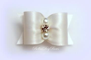 7/8 White Satin Bow with  Matching Flags and Large Clear Swarovski Crystal and Pearls by BellasDogBows for $7.99