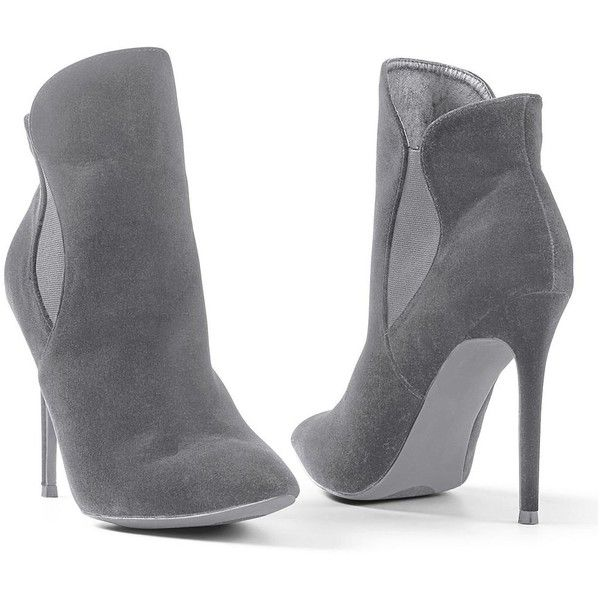 Venus Women's Faux Suede Pointy Bootie ($46) ❤ liked on Polyvore featuring shoes, boots, ankle booties, grey, short boots, gray boots, ankle boots, bootie boots and gray bootie