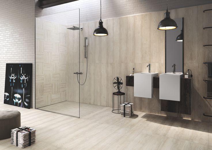 Edilcuoghi Legno Marino. #legno #marino #legnomarino #sea #living #contemporary #light #sun #wood #effettolegno #design #gres #edilcuoghi #white #chair #glass #wall #shower #mirror