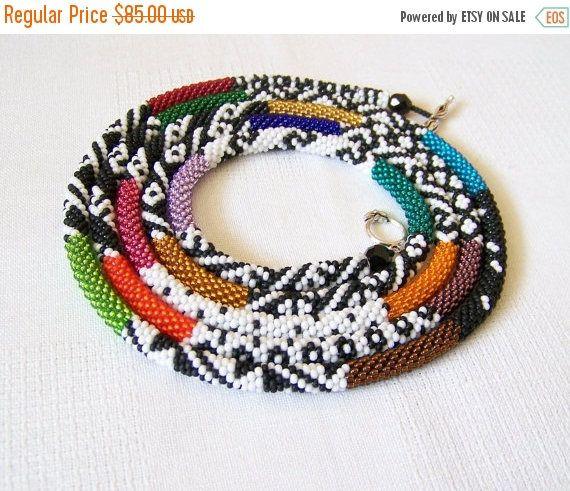 15% SALE Long Beaded Crochet Rope Necklace Beadwork Seed