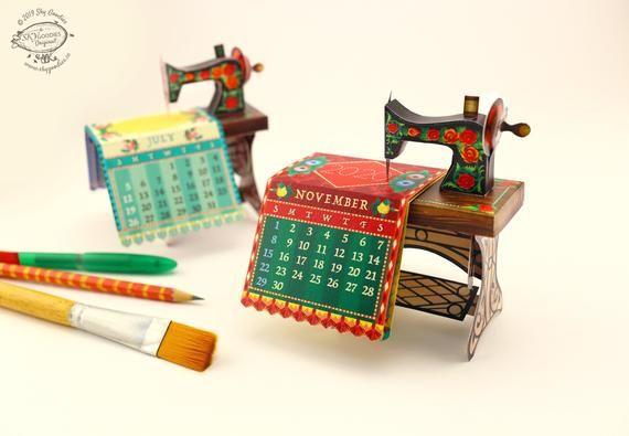 2021 DIY Sewing Machine Calendar Printable Paper Papercraft | Etsy