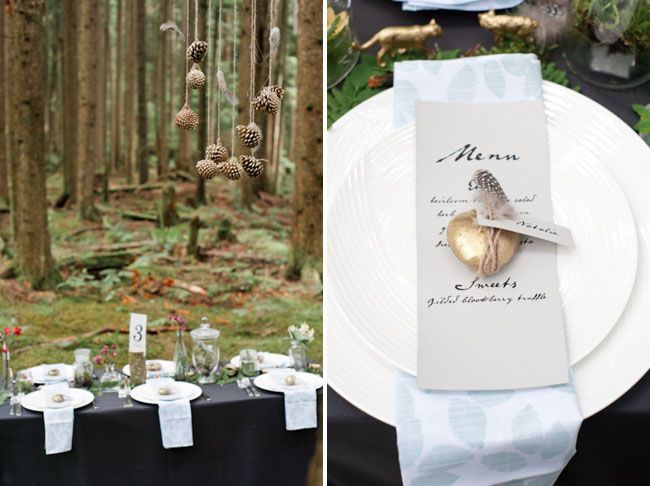 Love the pine cone mobile! - Whimsical forest wedding inspiration by Stefanie Cepeda Photography